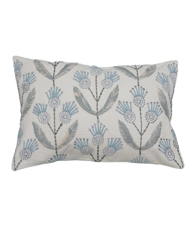 Creative Co-Op Cotton Embroidered Lumbar Pillow with Flowers, Multi Color