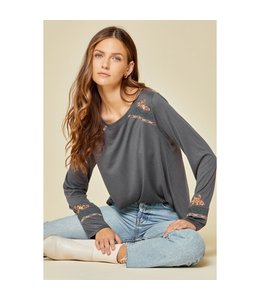 Andree Embroidery Knit Top Charcoal