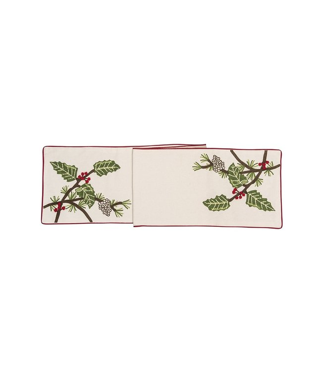 C&F Home Holly and Pinecones Table Runner
