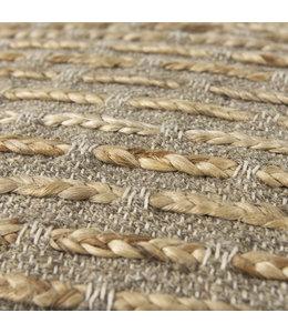 Mercana Binita  Gray/Brown Wool and Cotton Pouf