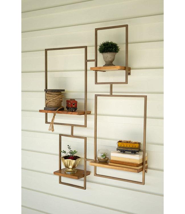 Kalalou Iron & Wood Wall Unit With 4 Shelves