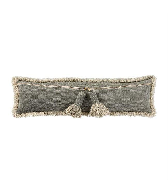 MudPie Gray Dhurrie Tassle Long Pillow
