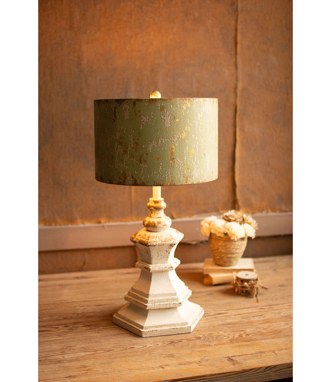 Kalalou Antique White Wood Table Lamp with Antique Metal Shade