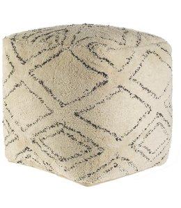 Mercana Tapir Beige Cotton Argyle Pattern Square Pouf
