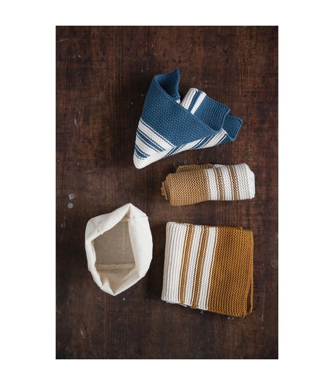 Creative Co-Op Cotton Knit Striped Dish Cloths, Mustard Color, Brown & Blue, Set of 3 in Cotton Bag