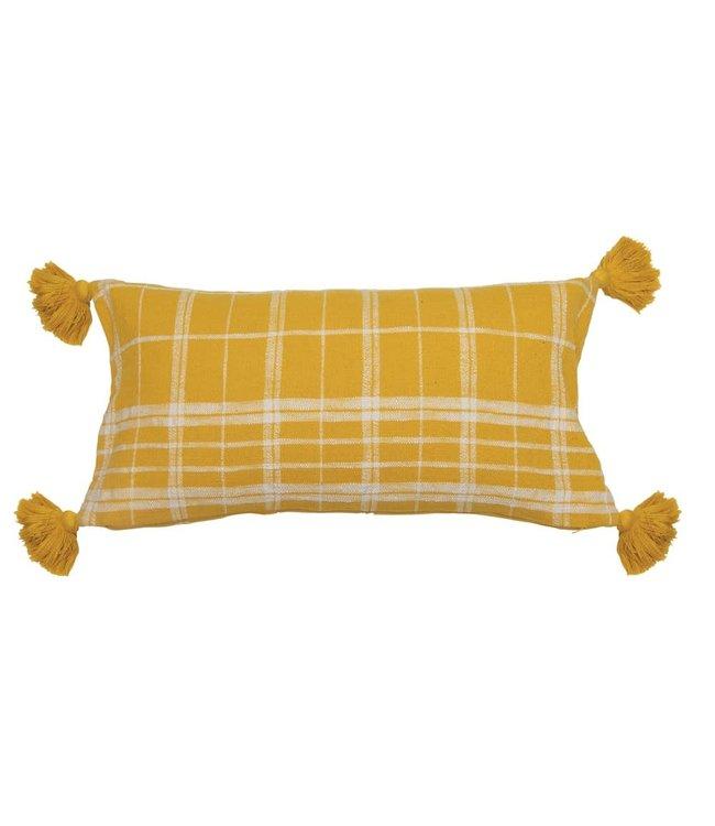 Creative Co-Op Woven Cotton Slub Lumbar Pillow with Grid Pattern & Tassels, Yellow & White