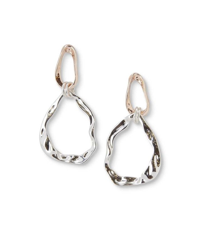 K&K Interiors Silver and Rose Gold Teardrop Hoop Earrings