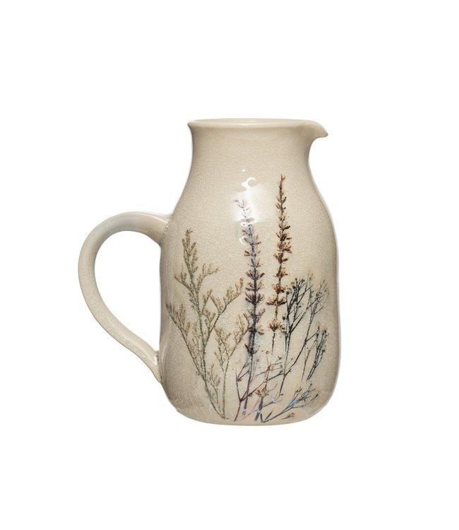 Creative Co-Op 32 oz Stoneware Debossed Floral Pitcher