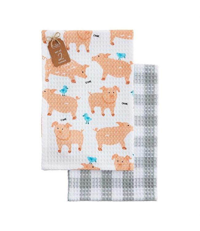 MudPie Farm Waffle Dish Towel Set- Oink