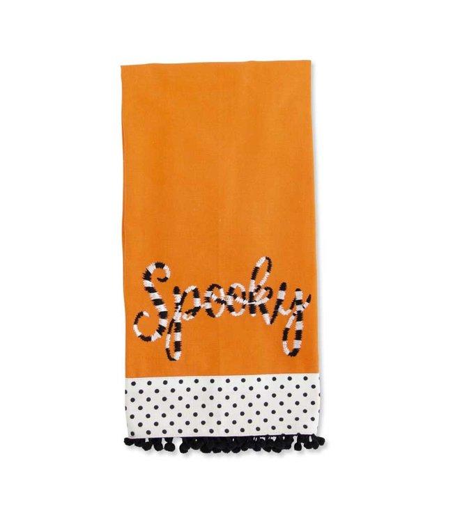 K&K Interiors Orange Halloween Towel w/Black White Embroidered SPOOKY & P