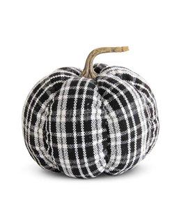K&K Interiors 8 Inch Black & White Plaid Fabric Pumpkin w/Resin Stem