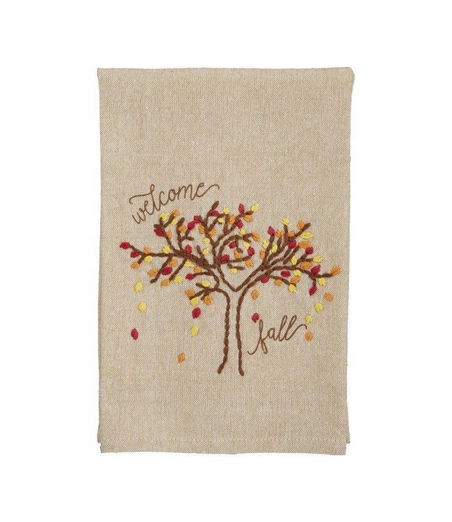 MudPie Welcome Fall French Knot Towel