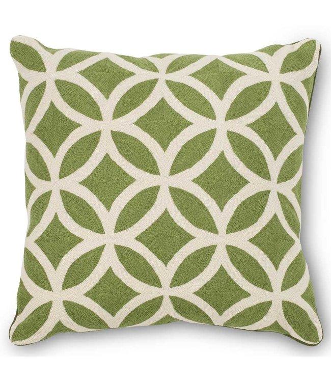 K&K Interiors 19 Inch Green Woven Pillow w/Cream Geometric Circle and Diamond Pattern