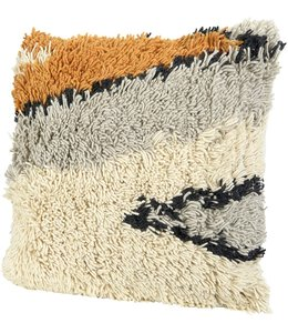 Creative Co-Op Wool Shag Pattern Pillow, Multicolor