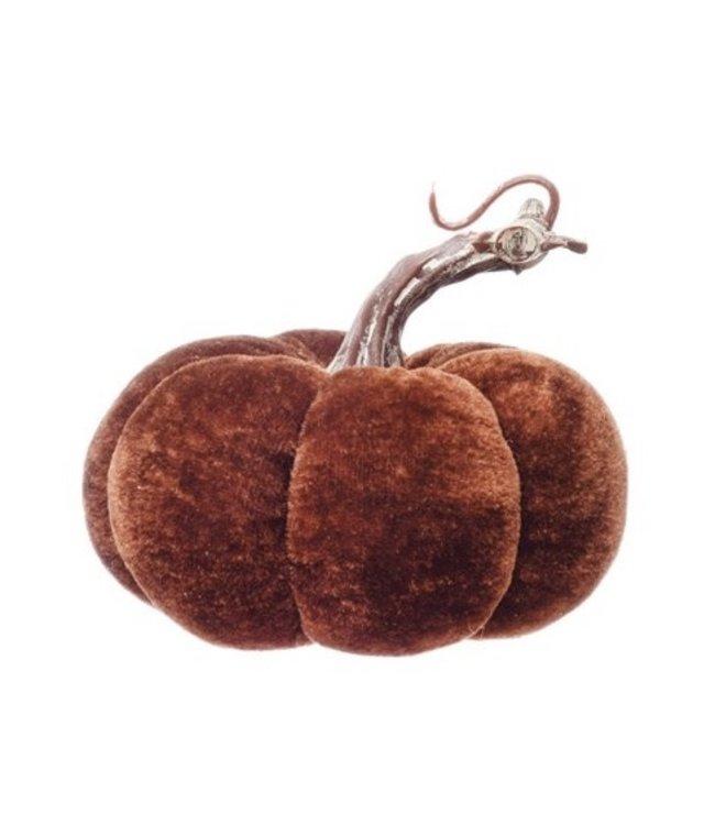 Creative Co-Op Brown Velvet Pumpkin w/ Resin Stem