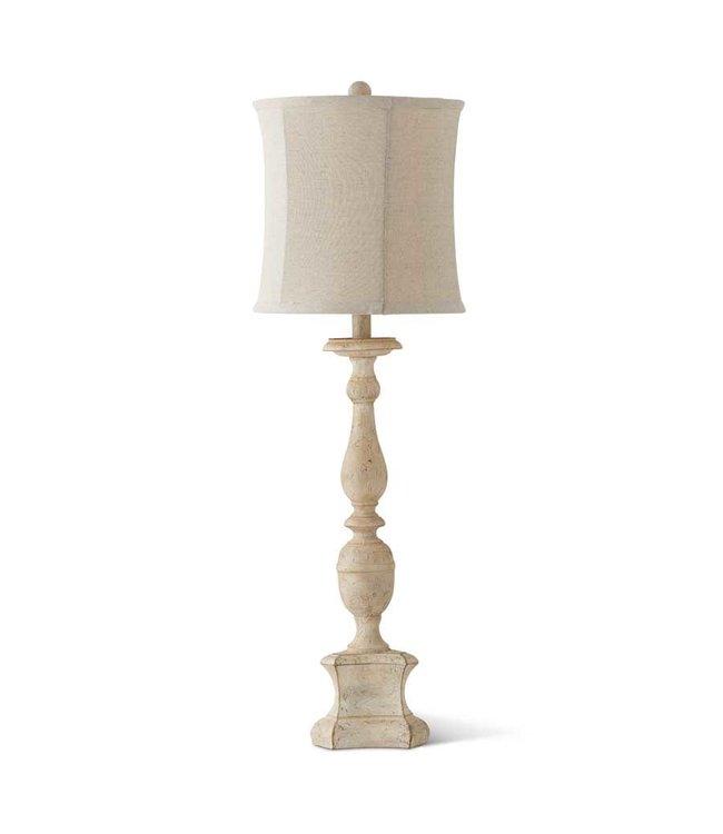 K&K Interiors Distressed White Lamp with White Shade