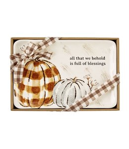 MudPie All That We Hold Pumpkin Sentiment Tray