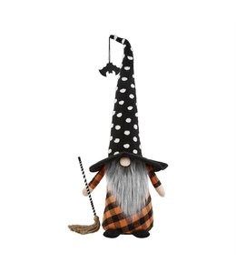 MudPie Extra Large Witch Gnome, Polka Dot Hat