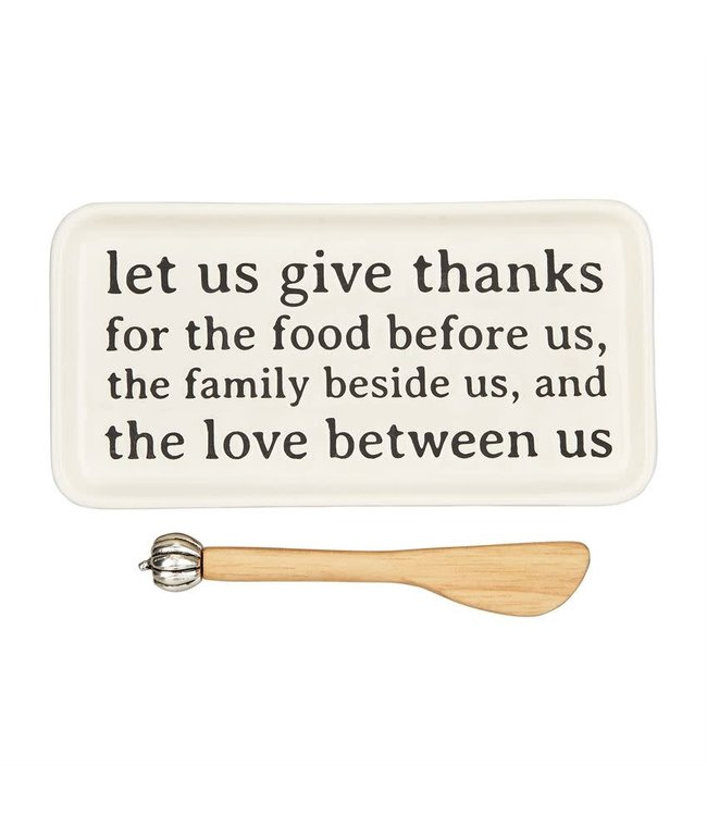 MudPie Give Thanks Butter Dish Set