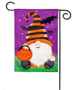 Evergreen Halloween Gnome Garden Shimmer Linen Flag