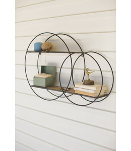 Kalalou Metal Double Circle Wall Unit with Wood Shelves