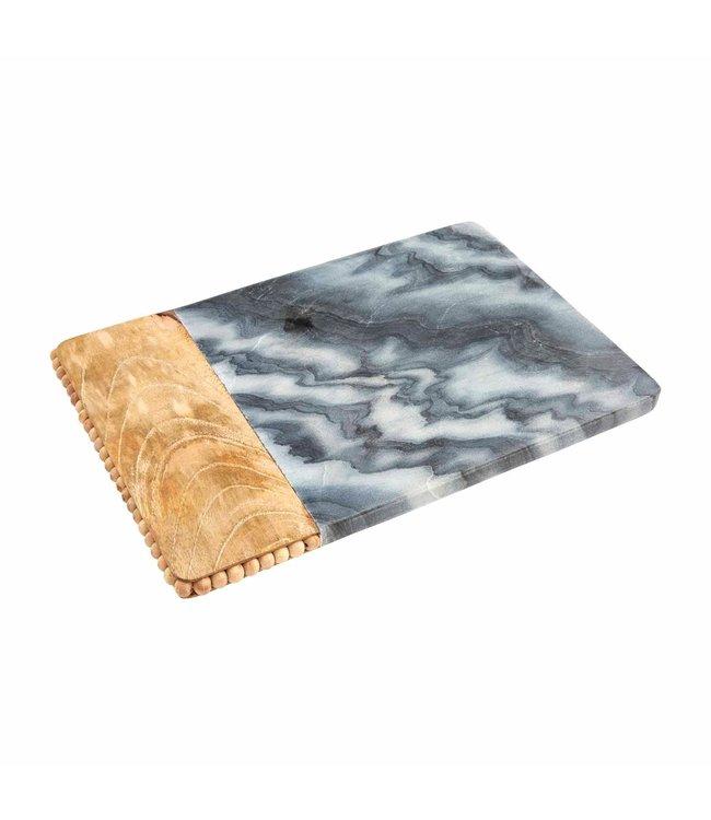 MudPie Gray Beaded Wood Marble Board