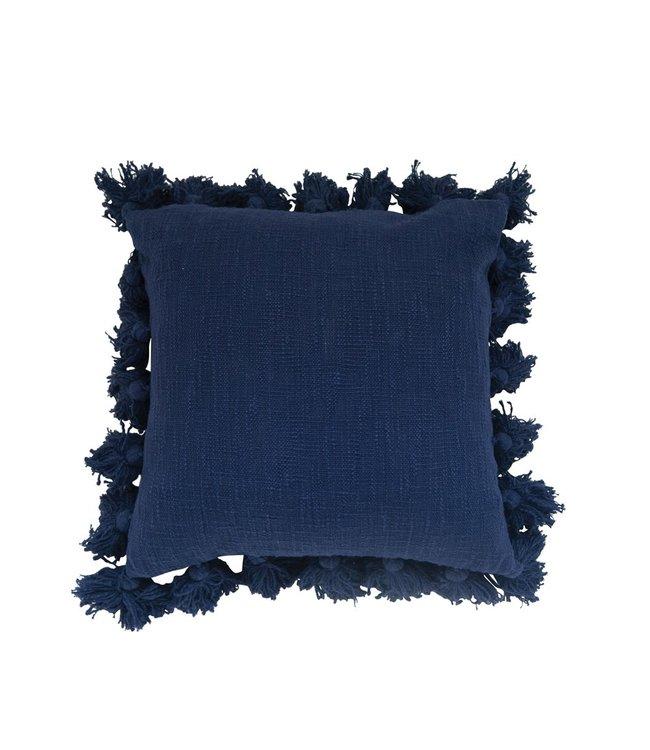 Creative Co-Op Cotton Pillow w/ Tassels, Navy