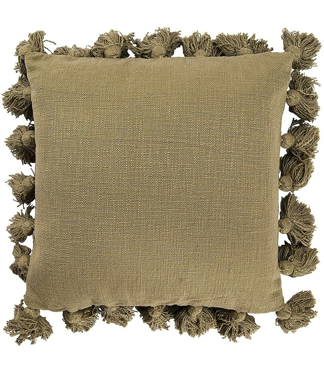 "Creative Co-Op 18"" Square Cotton Pillow w/ Tassel, Olive Color"