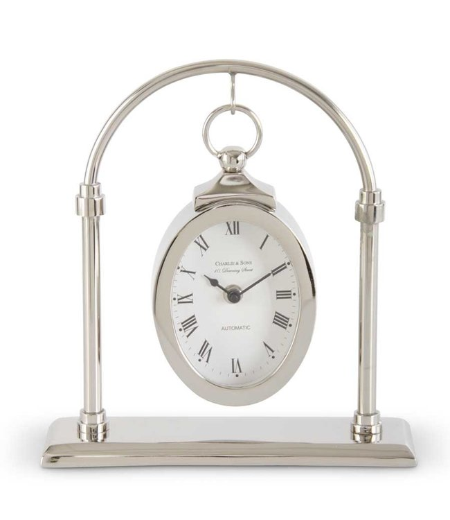 K&K Interiors 11 Inch Silver Oval Hanging Clock w/Arch Stand