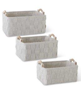 K&K Interiors Set of 3 Woven Cream Felt Nesting Baskets w/Wood Handles