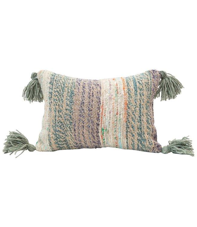 Creative Co-Op Cotton Woven Lumbar Pillow w/ Tassels, Multi Color