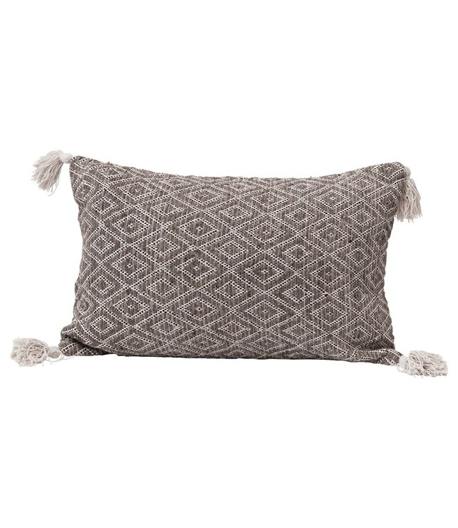 Creative Co-Op Cotton Woven Lumbar Pillow with Diamond Pattern & Tassels, Black, Cream & Tan Color