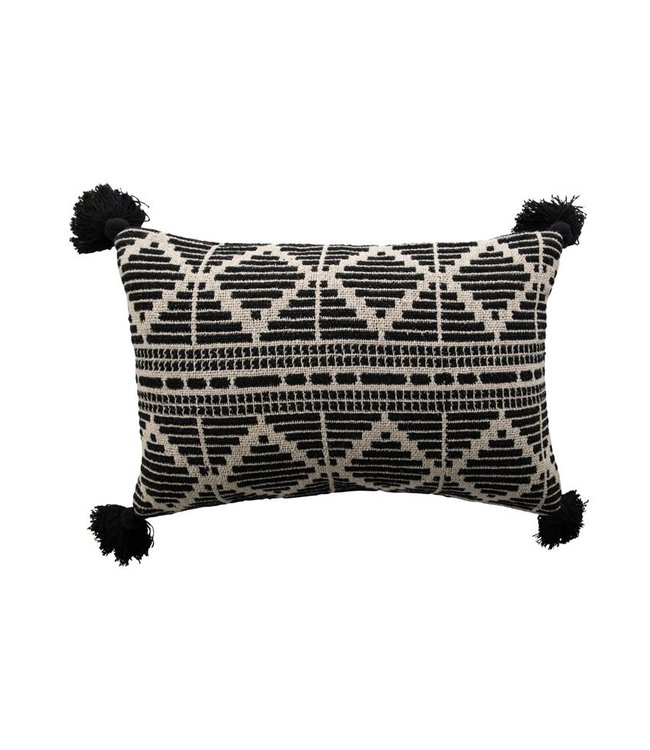 Bloomingville Woven Recycled Cotton Blend Lumbar Pillow with Tassels, Black & Beige