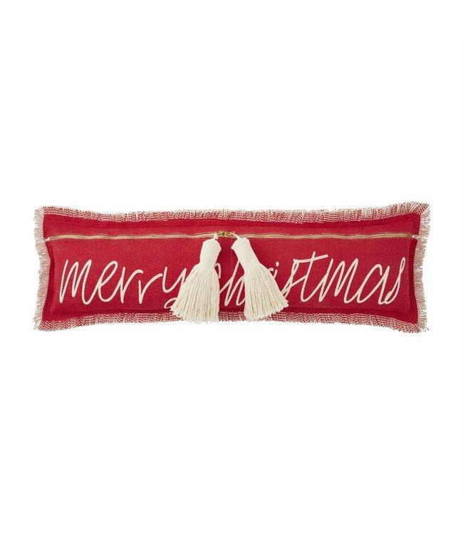 MudPie Merry Christmas Tassel Pillow