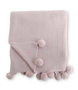 K&K Interiors Pink Moss Stitch Knit Throw With Pompom Trim
