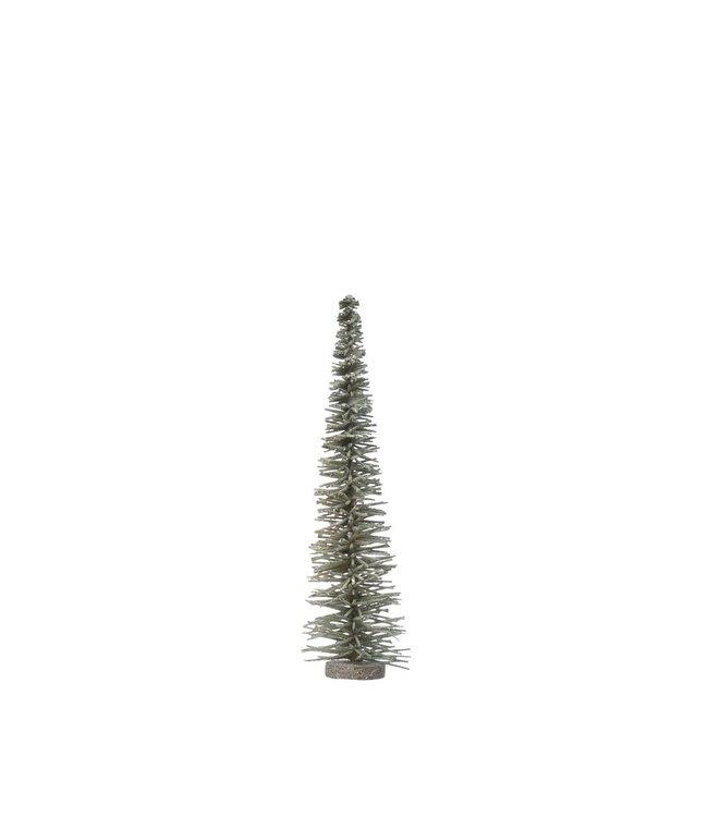 "Creative Co-Op Bottle Brush Tree on Wood Base, Green w/ Glitter- 4"" Round x 15-3/4""H"