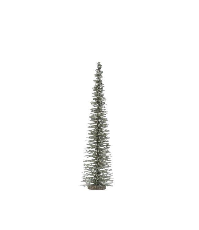 "Creative Co-Op Bottle Brush Tree on Wood Base, Green w/ Glitter- 4-3/4"" Round x 19-3/4""H"