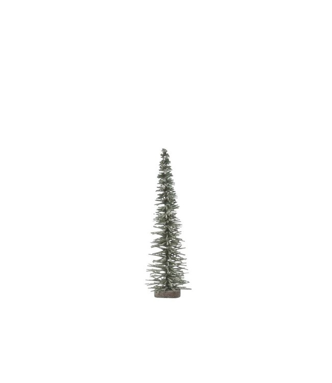 Creative Co-Op Bottle Brush Tree on Wood Base, Green with Glitter