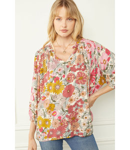 Entro Floral Print Top With Ruffle Detailing