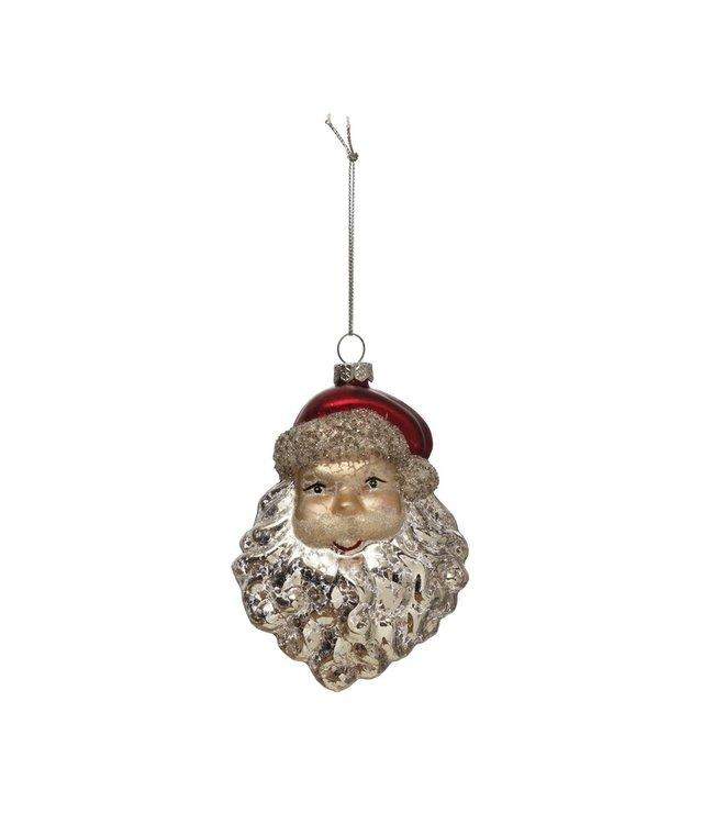 Creative Co-Op Glass Santa Head Ornament