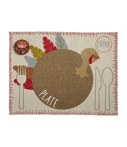 MudPie Turkey Place Mat With Button