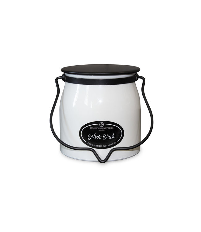 Milkhouse Candle Company Butter Jar 16 Oz: Silver Birch