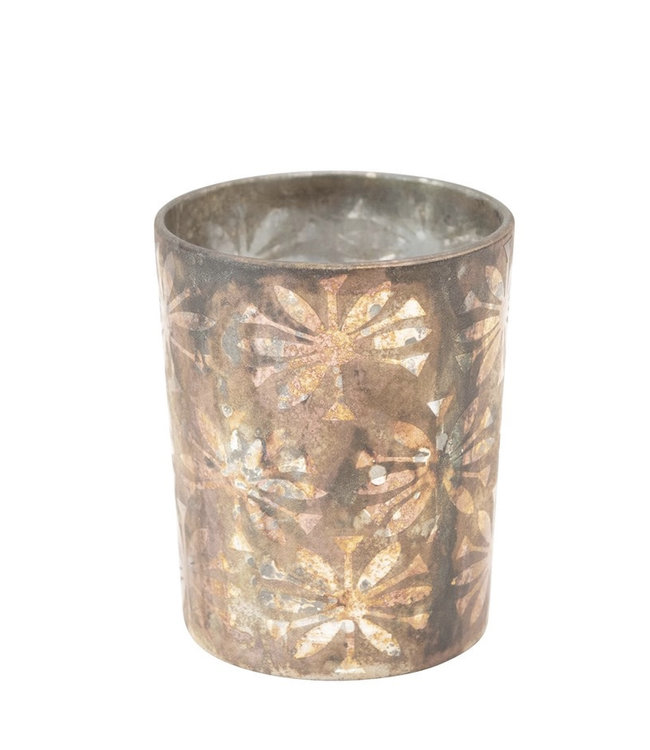 Creative Co-Op Etched Glass Votive Holder with Pattern, Oxidized Copper Finish