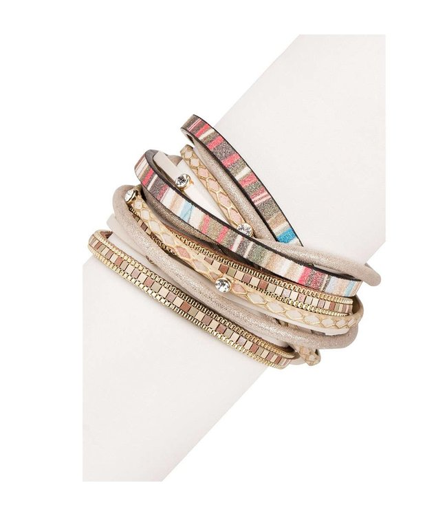 Saachi Mucho Gusto Leather Wrap Bracelet