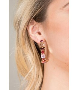 Saachi Dynasty Gemstone Hoop Earrings: Pink