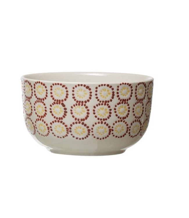 Creative Co-Op Hand-Stamped Stoneware Bowl, Multi Color- Red
