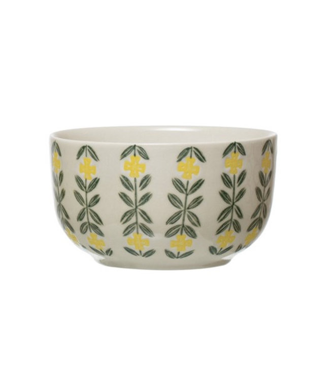 Creative Co-Op Hand-Stamped Stoneware Bowl, Multi Color- Green