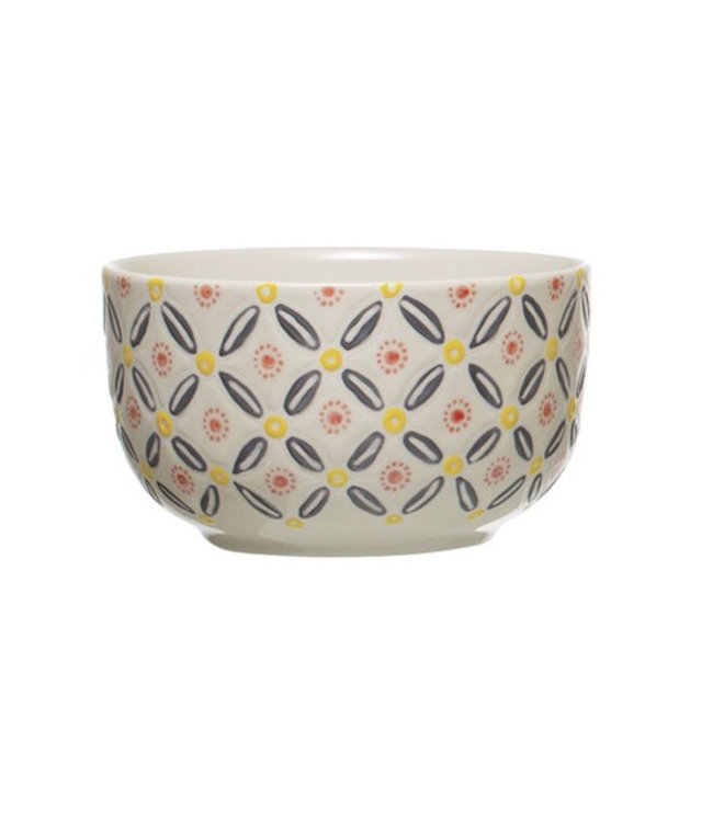 Creative Co-Op Hand-Stamped Stoneware Bowl, Multi Color- Grey