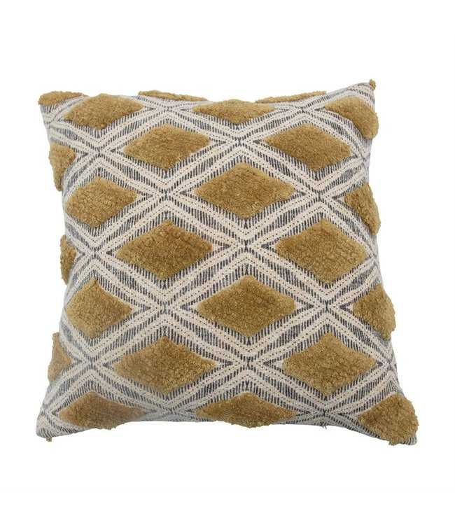 Bloomingville Cotton Printed Slub Pillow with Tufting, Chartreuse & Grey