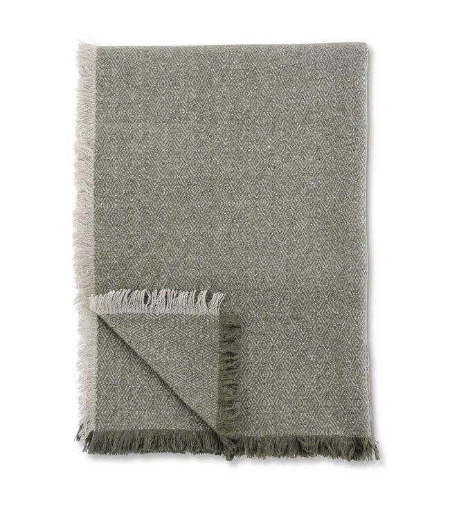 K&K Interiors 64 Inch Green & Tan Diamond Pattern Wool Blend Throw Blanket
